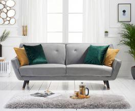 Laura 3 Seater Sofa in Grey Velvet