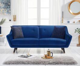 Laura 3 Seater Sofa in Blue Velvet