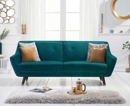 Laura 3 Seater Sofa in Green Velvet