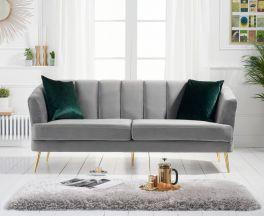 Lucinda 3 Seater Sofa in Grey Velvet with Gold Legs