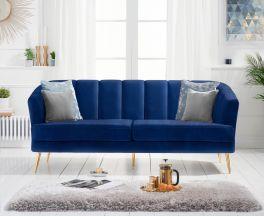 Lucinda 3 Seater Sofa in Blue Velvet with Gold Legs