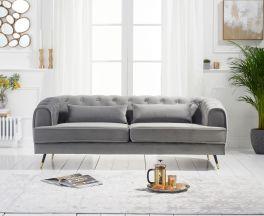 Bayne 3 Seater Sofa in Grey Velvet