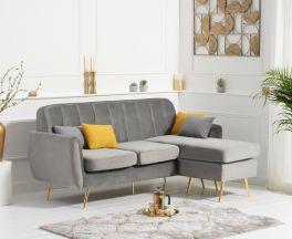 Bina Grey Velvet 3 Seater Chaise Corner Sofa with Gold Legs