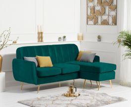 Bina Green Velvet 3 Seater Chaise Corner Sofa with Gold Legs