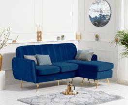 Bina Blue Velvet 3 Seater Chaise Corner Sofa with Gold Legs