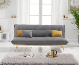 Yasmina Grey Linen 3 Seater Fold Down Sofa Bed with Gold Legs