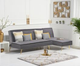 Breva Grey Linen 3 Seater Corner Chaise Sofa Bed with Gold Legs
