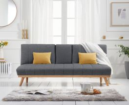 Saffron Grey Linen 3 Seater Fold Down Sofa Bed