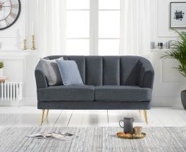 Lucinda 2 Seater Sofa in Grey Linen with Gold Legs