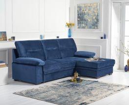 Jennifer Blue Velvet Right Hand Facing Corner Sofa Bed