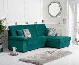 Jennifer Green Velvet Right Hand Facing Corner Sofa Bed