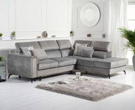 Alyssa Grey Velvet Right Hand Facing Corner Sofa Bed