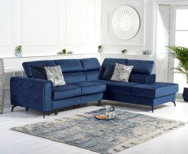 Alyssa Blue Velvet Right Hand Facing Corner Sofa Bed