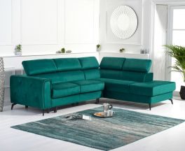 Alyssa Green Velvet Right Hand Facing Corner Sofa Bed