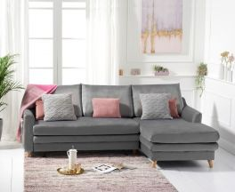 Mante Grey Velvet Right Hand Facing Corner Sofa Bed