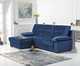 Jennifer Blue Velvet Left Hand Facing Corner Sofa Bed