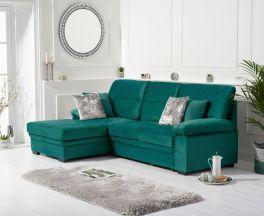 Jennifer Green Velvet Left Hand Facing Corner Sofa Bed