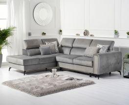 Alyssa Grey Velvet Left Hand Facing Corner Sofa Bed