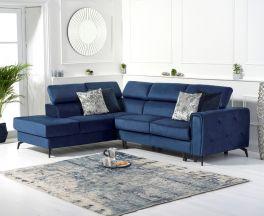 Alyssa Blue Velvet Left Hand Facing Corner Sofa Bed