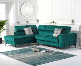 Alyssa Green Velvet Left Hand Facing Corner Sofa Bed