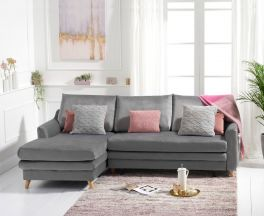Mante Grey Velvet Left Hand Facing Corner Sofa Bed