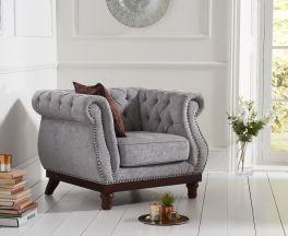 Highgrove Chesterfield Grey Plush Fabric ArmChair