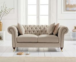 Camara Chesterfield Cream Linen 2 Seater Sofa