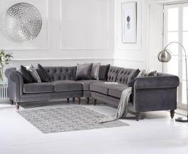 Lauren Medium Grey Velvet Corner Sofa