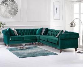 Lauren Medium Green Velvet Corner Sofa