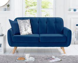 Carvella Blue Velvet 2 Seater Sofa