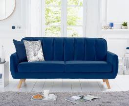 Carvella Blue Velvet 3 Seater Sofa