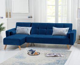 Abigail Sofa Bed Left Facing Chaise in Blue Velvet