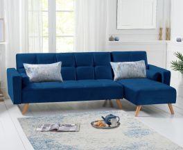 Abigail Sofa Bed Right Facing Chaise in Blue Velvet