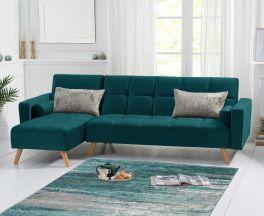 Abigail Sofa Bed Left Facing Chaise in Green Velvet