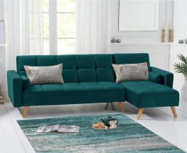 Abigail Sofa Bed Right Facing Chaise in Green Velvet