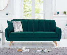 Carvella Green Velvet 3 Seater Sofa