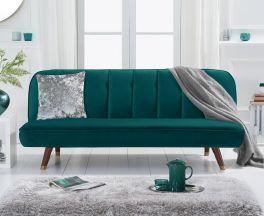 Jodie Sofa Bed in Green Velvet