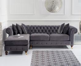 Fiona Grey Velvet 275cm Left Facing Chaise Sofa