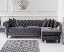 Fiona Grey Velvet 275cm Right Facing Chaise Sofa