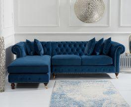 Fiona Blue Velvet 275cm Left Facing Chaise Sofa