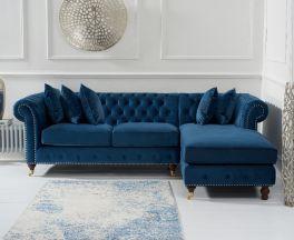 Fiona Blue Velvet 275cm Right Facing Chaise Sofa