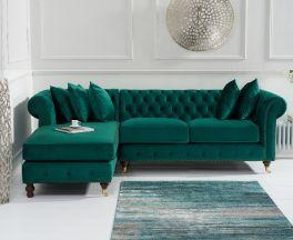 Fiona Green Velvet 275cm Left Facing Chaise Sofa