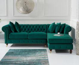 Fiona Green Velvet 275cm Right Facing Chaise Sofa