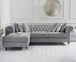 Fiona Grey Linen 275cm Left Facing Chaise Sofa