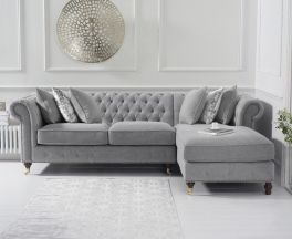 Fiona Grey Linen 275cm Right Facing Chaise Sofa