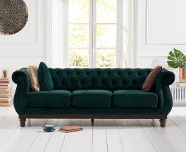 Highgrove Chesterfield Green Velvet 3 Seater Sofa