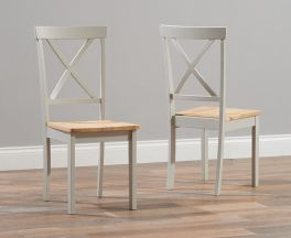 Elstree Solid Hardwood & Painted Dining Chairs (Pairs) - Oak & Grey