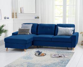 Carlotta Double Sofa Bed Left Facing Chaise in Blue Velvet