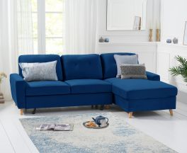 Carlotta Double Sofa Bed Right Facing Chaise in Blue Velvet