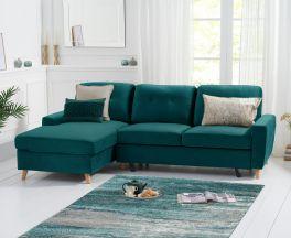 Carlotta Double Sofa Bed Left Facing Chaise in Green Velvet